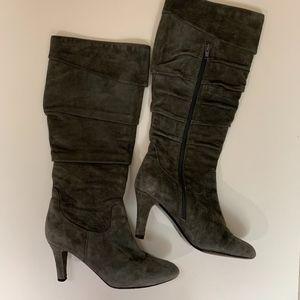 Knee High Suede Zip Up Boots 7 1/2